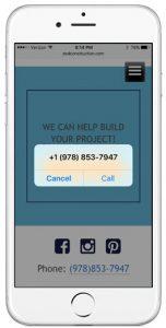 Eastern Shore Design & Construction website on mobile phone