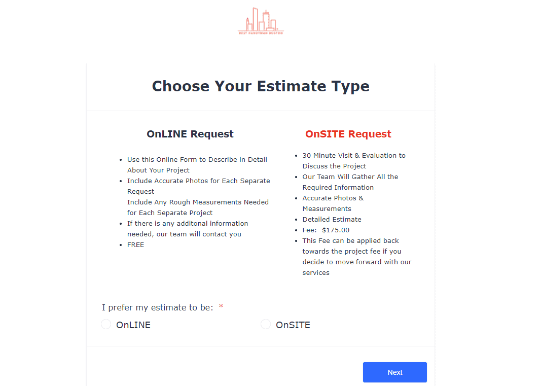 Best Handyman Boston Online Estimate Form