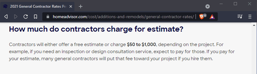 How much do contractors charge for estimate?